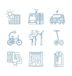 Green energy line icons vector