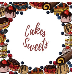 hand drawn colored banner with sweets cakes vector image