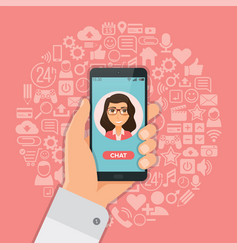 hand with smartphone chat on background with vector image