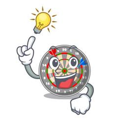 have an idea cartoon dartcoard next to wooden vector image