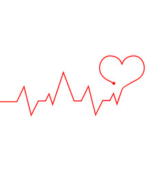 Heartbeat line red cardiogram as symbol life vector