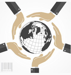 human hands around world vector image