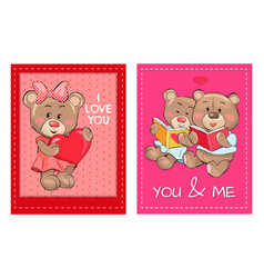 i love you and me teddy bears reading books vector image