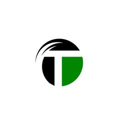 initial letter logo t inside circle shape vector image