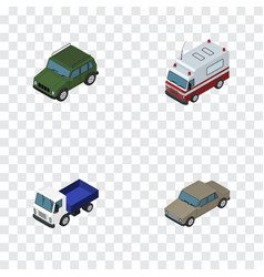 Isometric transport set of armored first-aid vector
