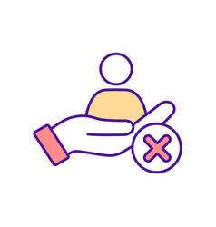 Lack social support rgb color icon vector