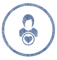 lady love rounded fabric textured icon vector image