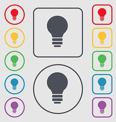 Light lamp Idea icon sign symbol on the Round and vector image