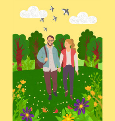 lovers in forest green nature leisure vector image