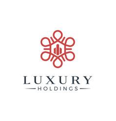Luxury real estate logo design vector