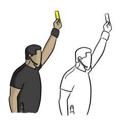 male soccer referee showing a yellow card vector image