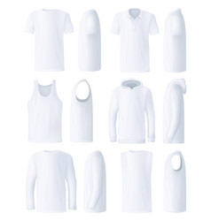 Male top clothes templates side and front views vector