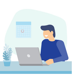 man working with laptop vector image