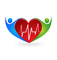 medical logo caring a heart symbol icon vector image