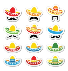 Mexican Sombrero hat with moustache or mustache vector image