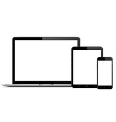 Modern digital devices with empty space on white vector