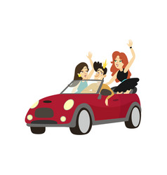 Modern prince driving cabriolet car happy friends vector
