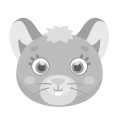 mouse muzzle icon in monochrome style isolated on vector image