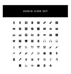 music audio icons set with glyph style design vector image