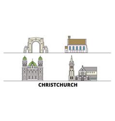 new zealand christchurch flat landmarks vector image