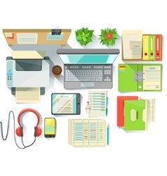 Office Worker Desk With Utilities And Stationary vector image