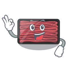 Okay minced meat on a mascot plate vector