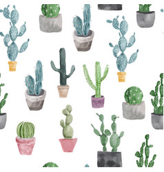 Pattern of cactus and succulents vector