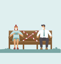 people keep distance on bench in park vector image