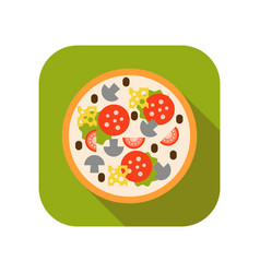 Pizza with mushrooms tomatoes sausage and cheese vector