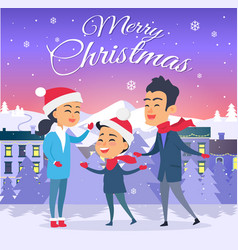 Postcard with merry christmas on city background vector