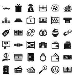 Quantity of money icons set simple style vector