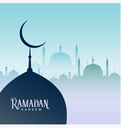 ramadan kareem design with mosque silhouettes vector image