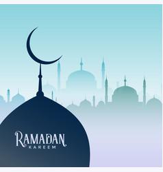 Ramadan kareem design with mosque silhouettes vector