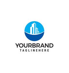 real estate building logo design concept template vector image