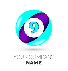 Realistic number nine in colorful circle vector