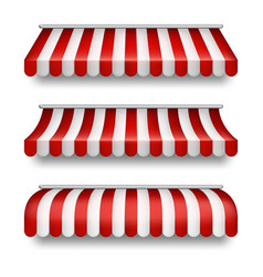 Realistic set striped awnings for shops vector