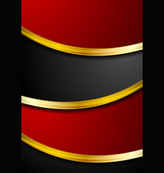 Red and black abstract background with golden vector
