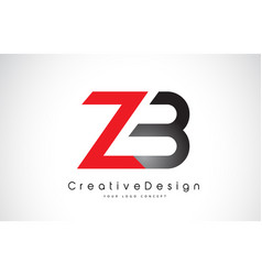 Red and black zb z b letter logo design creative vector