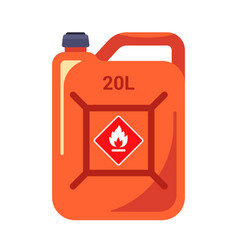 Red canister gasoline caution flammable vector