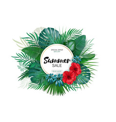 Sale round summer sale tropical leaves freme vector