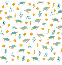seamless pattern with cheerful turtles and sea vector image