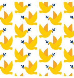 seamless pattern with doves peace vector image
