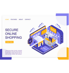secure online shopping isometric landing page vector image