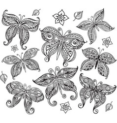Set butterfly in doodle style vector