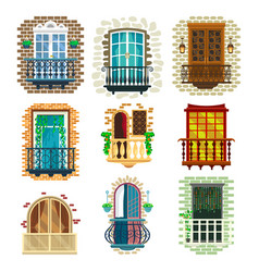 set classic balcony with banister porch pots vector image