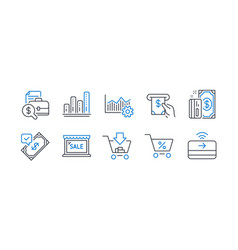 Set finance icons such as shopping sale vector