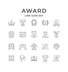 Set line icons award vector
