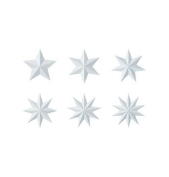 Set of beautiful faceted shiny white paper stars vector