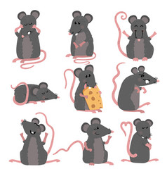 set of cute mice in various poses in cartoon style vector image