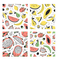 set of hand drawn set of tropical fruits vector image